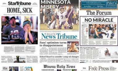 A frustração dos Vikins estampada em jornais americanos Foto: Reprodução