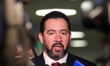 O ministro do Planejamento, Dyogo Oliveira, durante entrevista na Câmara Foto: Givaldo Barbosa / Agência O Globo