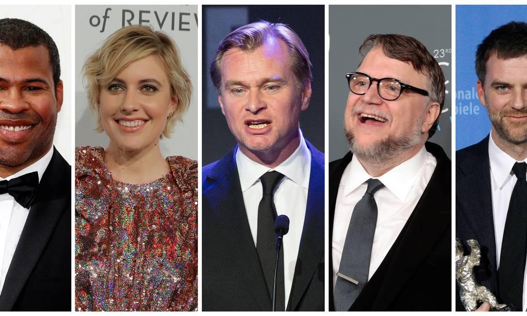 Jordan Peele, Greta Gerwig, Christopher Nolan, Guillermo del Toro e Paul Thomas Anderson, os indicados ao prêmio de direção no Oscar 2018 Foto: REUTERS / REUTERS