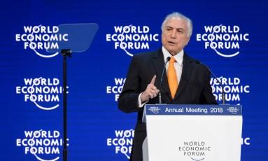 Presidente Michel Temer discursa no Fórum Econômico Mundial. Foto: Fabrice Coffrini