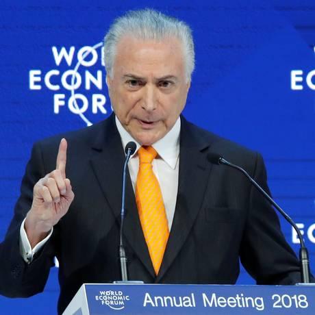 Presidente Michel Temer participa do Fórum Econômico Mundial, em Davos, na Suíça. Foto: DENIS BALIBOUSE / REUTERS