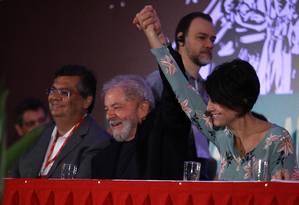 Lula durante o lançamento da candidatura de Manuela D'ávila (PCdoB) à presidência, em novembro Foto: Jorge William / Agência O Globo