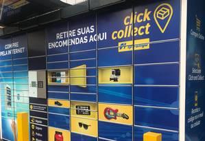 Locker da Via Varejo em posto de gasolina em São Paulo Foto: Divulgação