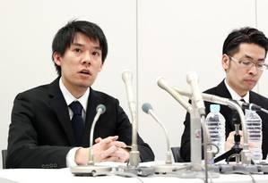 Presidente da corretora Coincheck, Koichiro Wada, durante entrevista coletiva em Tóquio na qual falava sobre o ataque de hackers Foto: Takuya Inaba / AP