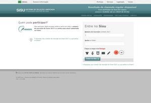 Resultados devem ser consultados na página do Sisu na internet Foto: REPRODUÇÃO