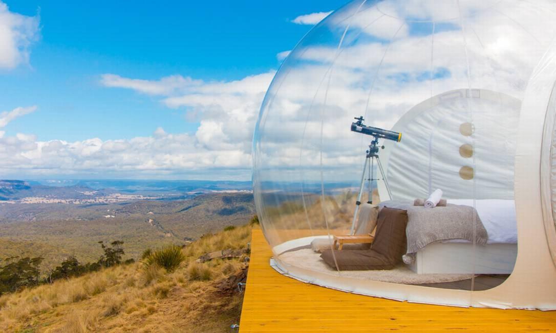 Todos os quartos têm, além de área externa com cozinha e ofurô, um telescópio Foto: Divulgação/Bubbletent Australia