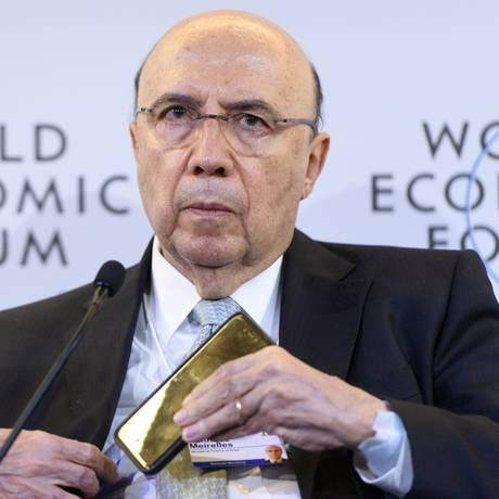O ministro da Fazenda, Henrique Meirelles, durante evento no Fórum Econômico Mundial, em Davos Foto: Laurent Gillieron/AP/25-01-2018