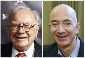 Combinação das fotos de Warren Buffett, Jeff Bezos e Jamie Dimon, da esquerda para a direita. Fotos da AP Foto: AP
