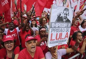 Manifestação contra a condenação e prisão de Lula Foto: Andre Penner / AP 24/01/2018