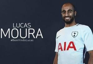 Lucas Moura vai usar a camisa 27 do Tottenham Foto: Reprodução Twitter