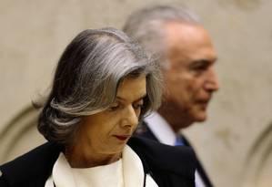 Cármen Lúcia e Michel Temer durante sessão de abertura do ano Judiciário Foto: Jorge William/1º-2-2018