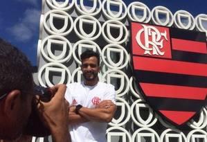 Henrique Dourado no Ninho do Urubu Foto: Twitter/Flamengo