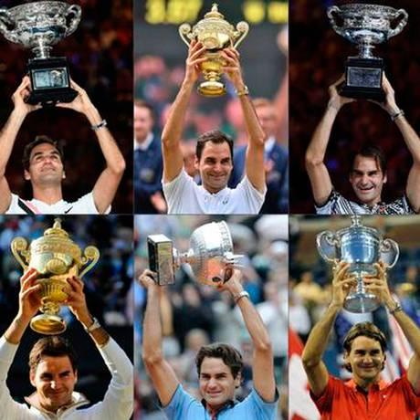 Colagem de fotos do suíço com troféus de 20 torneios do Grand Slam Foto: AFP