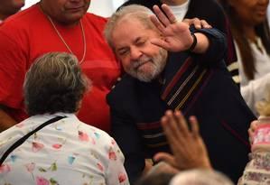 Lula no primeiro aniversário de morte de Marisa Letícia, em São Bernardo Foto: NELSON ALMEIDA / AFP