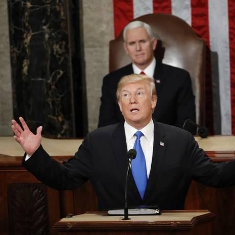Presidente Donald Trump fala durante o discurso sobre o Estado da União ao Congresso dos EUA em Washington Foto: Pablo Martinez Monsivais / AP