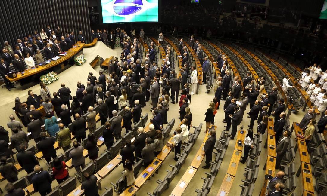 Deputados e senadores presentes na sessão inaugural do Congresso em 2018 Foto: Givaldo Barbosa / Agência O Globo/5-2-18