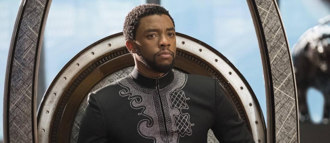 O ator Chadwick Boseman na pele do 'Pantera Negra' Foto: Matt Kennedy / AP