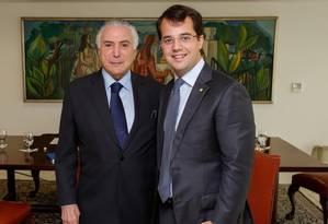 O deputado federal Marco Antônio Cabral (PMDB-RJ) se reúne com o presidente Michel Temer Foto: Divulgação/Facebook