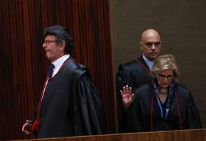 Os ministros do TSE Luiz Fux, Rosa Weber e Alexandre de Moraes Foto: Ailton de Freitas / Agência O Globo/8-2-18