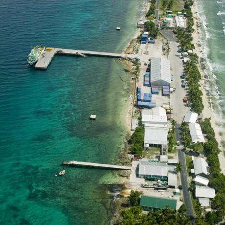 O atol de Funafuti, em Tuvalu, está apenas 15 metros acima do nível do mar no ponto mais alto Foto: Acervo