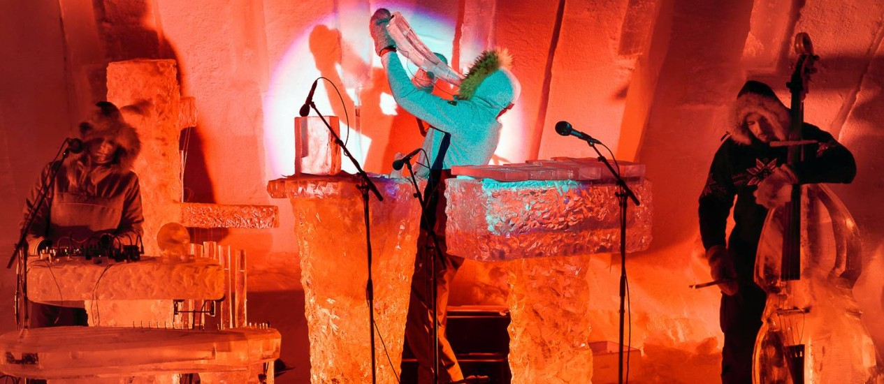 Ice Musice Festival, na Noruega: até os instrumentos musicais são de gelo Foto: Divulgação