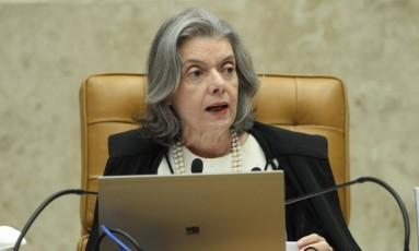 A ministra Cármen Lúcia, presidente do Supremo Tribunal Federal, durante sessão Foto: Ailton de Freitas / Agência O Globo