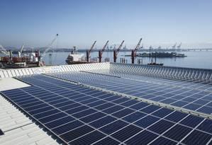 Projeto de energia solar no AquaRio Foto: Fernando Lemos/Agência O Globo/25-05-2017