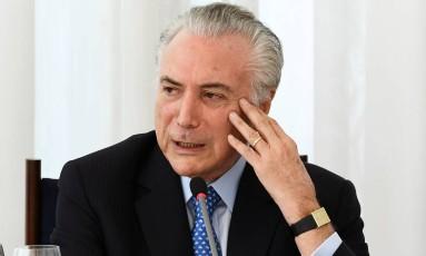 O presidente Michel Temer no Planalto Foto: Evaristo Sá / AFP
