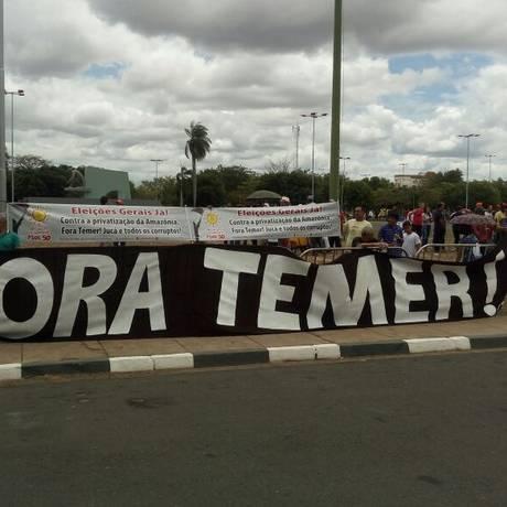 Manifestantes protestam contra governo Temer em Boa Vista Foto: Marcelo Marques