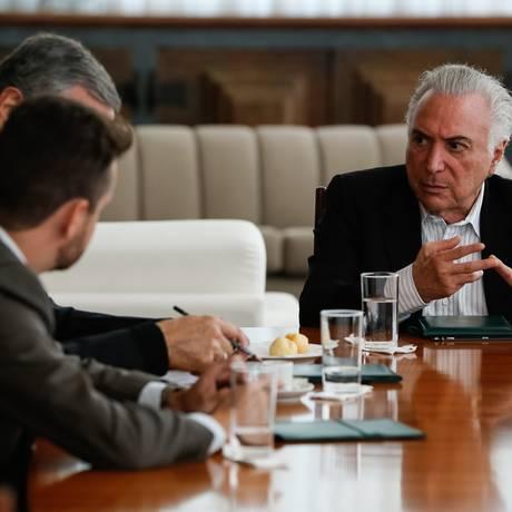 O presidente Michel Temer participa de reunião com ministros para tratar de imigração de venezuelanos Foto: Marcos Corrêa/Presidência