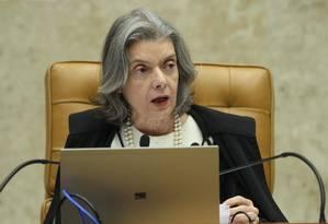 A presidente do Supremo, ministra Cármen Lúcia, presidindo sessão Foto: Ailton de Freitas/Agência O Globo/08-02-2018