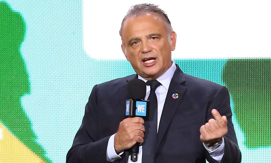 Imagem de arquivo mostra Luiz Loures, vice-diretor executivo do Unaids, falando em evento no Madison Square Garden, em Nova York, em setembro do ano passado: brasileiro foi acusado de assédio por funcionária do programa da ONU, mas acabou inocentado em investigação Foto: AFP/MONICA SCHIPPER/20-09-2017