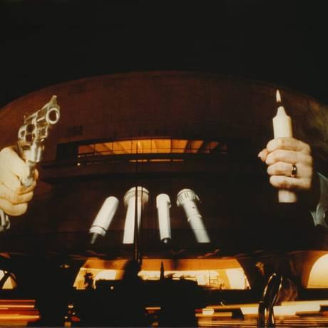 Projeção de Kryzstof Wodiczko no museu Hirshhorn, em Washington, DC Foto: Divulgação