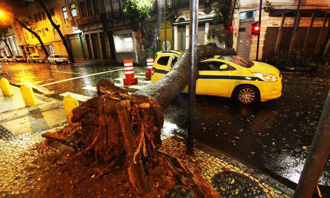 Árvore cai sobre um táxi na Rua Gomes Freire, na esquina da Rua da Relação durante a madrugada Foto: Paulo Nicolella / Agência O Globo