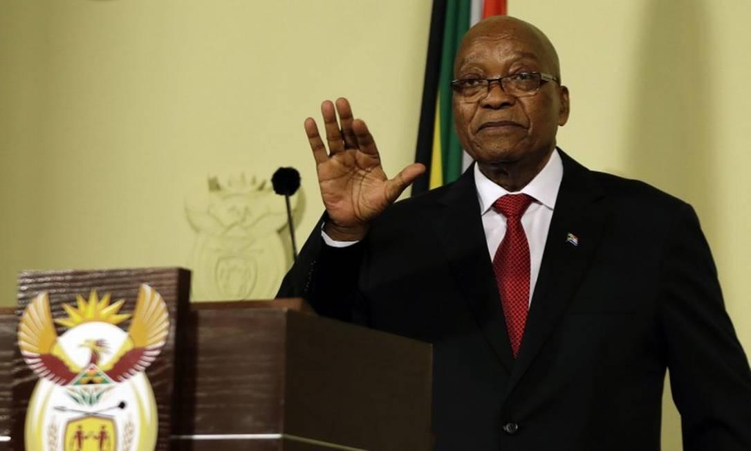 Jacob Zuma faz discurso de renúncia em Pretoria, na África do Sul; Vice Ramaphosa o substituiu na Presidência Foto: Themba Hadebe / AP