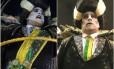 À esquerda, no dia do desfile durante o carnaval, com a faixa. E, à direita, nas Campeãs, sem o adereço