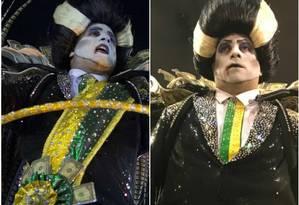 À esquerda, no dia do desfile durante o carnaval, com a faixa. E, à direita, nas Campeãs, sem o adereço Foto: Fotos de AFP e Ricardo Rigel