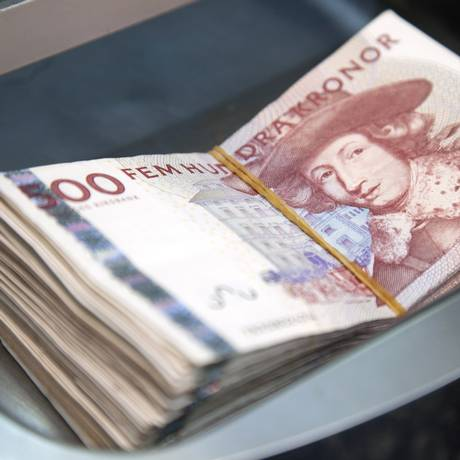Krona, a moeda sueca, é cada vez mais escassa no país Foto: Linus Hook / Bloomberg