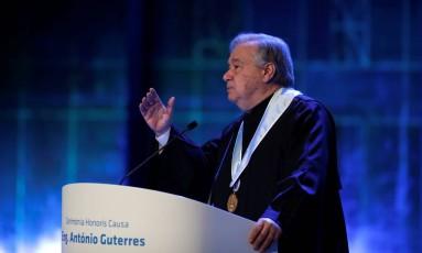 Guterres faz discurso na Universidade de Lisboa Foto: RAFAEL MARCHANTE / REUTERS