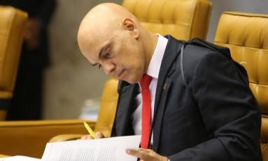O ministro Alexandre de Moraes, durante sessão do Supremo Foto: Ailton de Freitas/Agência O Globo/07-02-2018