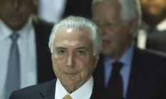 O presidente Michel Temer, após assinar decreto de intervenção no Rio de Janeiro Foto: Ailton de Freitas/Agência O Globo/16-02-2018