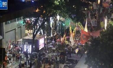 Manifestação na Avenida Rio Branco Foto: Reprodução/Centro de Operações