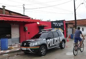 Entrada da danceteria em Fortaleza, onde chacina deixou 14 mortos no fim de janeiro Foto: Rodrigo Carvalho / AFP