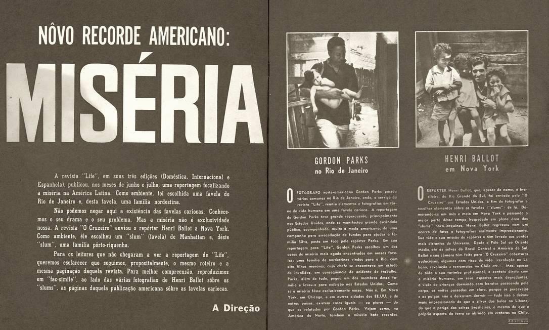 Página da revista 'O Cruzeiro', de 7 de outubro de 1961, com as fotos de Henri Ballot Foto: Reprodução