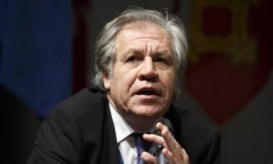 Chefe da OEA, Luis Almagro, fala durante evento para Direitos Humanos em Genebra Foto: Salvatore Di Nolfi / AP