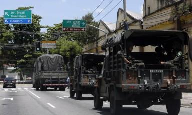 Tropas do Exército em Deodoro, na Zona Oeste do Rio Foto: Marcos de Paula / Agência O Globo