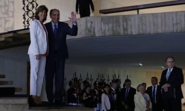 A ministra das Relações Exteriores da Colômbia, María Ángela Holguín, e o chanceler Aloysio Nunes, no Itamaraty. Foto: Michel Filho / Agência O Globo