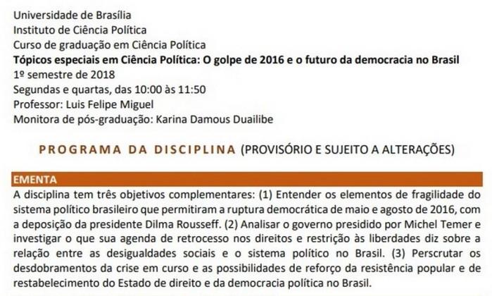 Universidade de Brasília oferece curso sobre