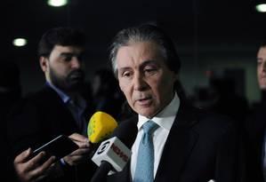 O presidente do Senado, Eunício Oliveira (PMDB-CE), durante entrevista Foto: Marcos Brandão/Agência Senado