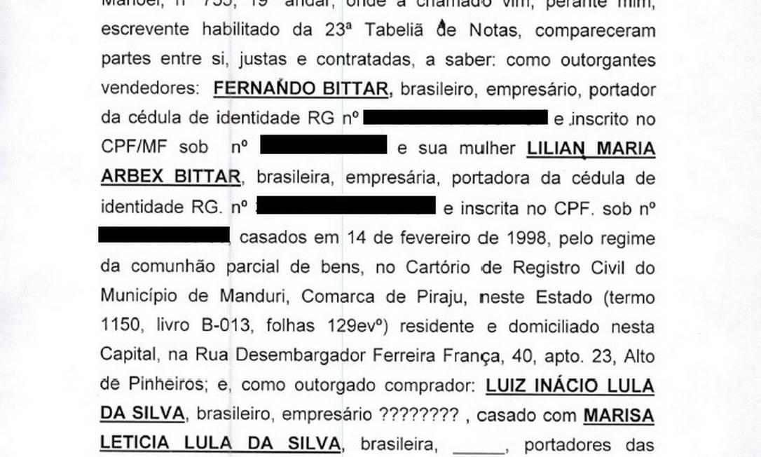 Documento elaborado por escrevente para passar sítio de Atibaia para o nome de Lula Foto: Reprpdução/PF